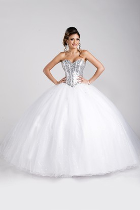 Sequined Corset Sweetheart Neckline Ball Gown With Lace-Up Back