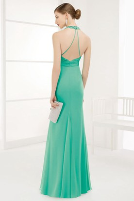 1bb07e2b26 Century 21 Evening Dresses. Crystal High Neck Front Keyhole Chiffon Long  Prom Dress With Back Spaghetti Straps