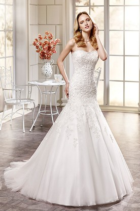 Trumpet Sweetheart Long Beaded Tulle Wedding Dress With Appliques