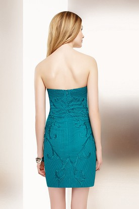 Pencil Mini Sleeveless Beaded Sweetheart Jersey Cocktail Dress With Appliques