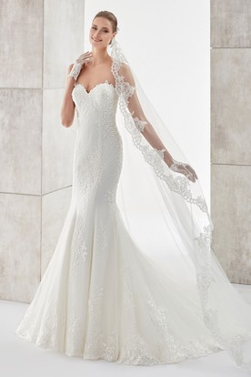 Sweetheart Sheath Mermaid Gown With Lace Appliques And Detachable Illusion Lace