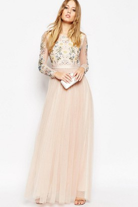 Sequined Scoop Neck Long Sleeve Tulle Bridesmaid Dress With Beading And Keyhole