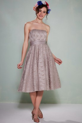 A-Line Tea-Length Strapless Lace Bridesmaid Dress