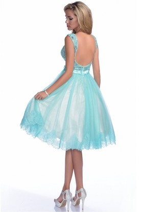 A-Line V-Neck Sleeveless Bow Sash Prom Dress With Jeweled Bodice And Lace Trim