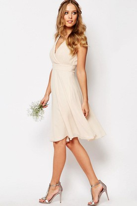 Knee-Length Sleeveless Beaded V-Neck Chiffon Bridesmaid Dress With Criss Cross
