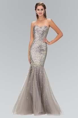 Mermaid Maxi Sweetheart Sleeveless Sequins Tulle Zipper Dress