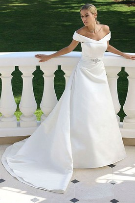 Off-The-Shoulder Satin Wedding Dress With Broach And Watteau Train