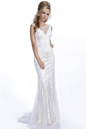 Trumpet Cap Sleeve Tulle Prom Dress With Rhinestones And Keyhole Back