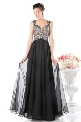 Sheath Maxi Queen Anne Chiffon Illusion Dress With Beading And Pleats