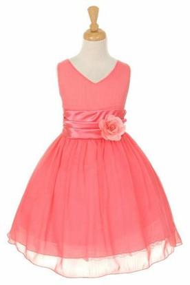 V-Neck Knee-Length Tiered Chiffon&Satin Flower Girl Dress
