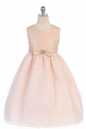 Tea-Length Bowed Tiered Tulle&Satin Flower Girl Dress