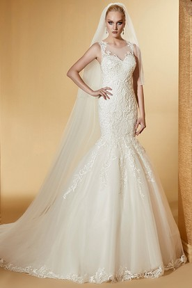 Cap Sleeve Jewel-Neck Mermaid Bridal Gown With Illusive Design And Court Train