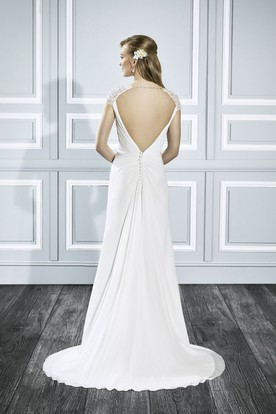 V-Neck Maxi Ruched Cap-Sleeve Chiffon Wedding Dress With Sweep Train And Keyhole