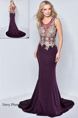 Sheath V-Neck Sleeveless Court Train Illusion Dress With Beading
