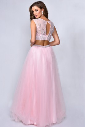 A-Line Scoop-Neck Sleeveless Tulle Illusion Dress With Lace And Beading