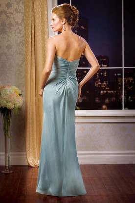Strapless Side Silted Mother Of The Bride Dress With Detachable Short-Sleeved Jacket Style