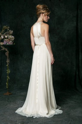 Sheath Scoop Ruched Floor-Length Sleeveless Chiffon Wedding Dress With Brush Train