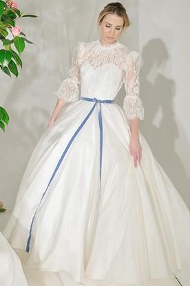 High Neck Maxi Lace Puff-Sleeve Satin Wedding Dress