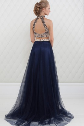 A-Line High-Neck Maxi Beaded Sleeveless Tulle Prom Dress