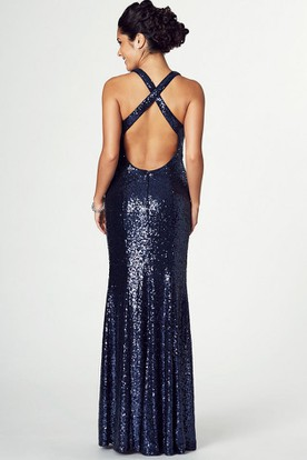 Split-Front Sleeveless V-Neck Sequin Prom Dress With Straps