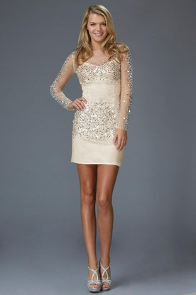 Pencil Short Bateau Illusion Long Sleeve Dress With Beading