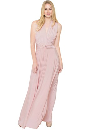Floor-Length V-Neck Ruched Sleeveless Chiffon Muti-Color Convertible Bridesmaid Dress With Straps