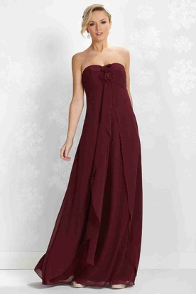 Draped Strapless Empire Chiffon Bridesmaid Dress With Flower