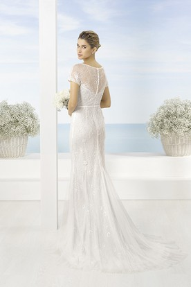 Floor-Length Scoop Lace Short-Sleeve Tulle Wedding Dress