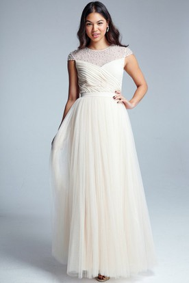 Maxi Criss-Cross Sleeveless Scoop Neck Tulle Bridesmaid Dress