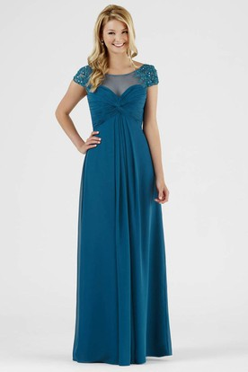 Scoop Maxi Empire Cap-Sleeve Beaded Chiffon Bridesmaid Dress With Ruching And V Back