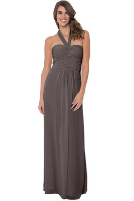 Sleeveless Ruched Halter Chiffon Muti-Color Convertible Bridesmaid Dress