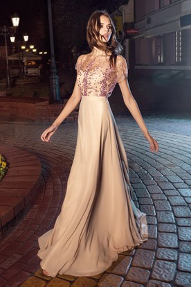 A-Line Floor-Length Poet-Sleeve Jersey Illusion Dress With Appliques