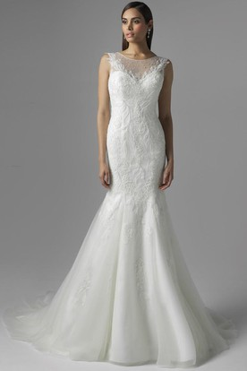 Mermaid Sleeveless Scoop-Neck Lace&Tulle Wedding Dress With Beading And Illusion
