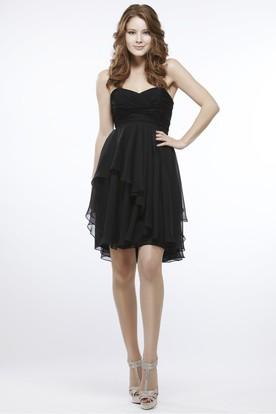 Short Draped Empire Strapless Chiffon Bridesmaid Dress With Low-V Back