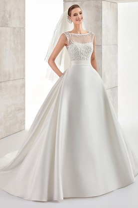 Jewel-Neck Cap-Sleeve A-Line Illusive Wedding Dress With Lace Bodice And Satin Skirt