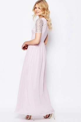 Ankle-Length Short Sleeve Pleated Scoop Neck Chiffon Bridesmaid Dress