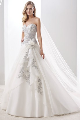 Sweetheart A-Line Beaded Bridal Gown With Side Draping And Lace-Up Back