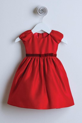 Bowed Cap-Sleeve Satin Flower Girl Dress