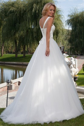 A-Line Floor-Length Sleeveless Scoop-Neck Tulle Wedding Dress With Beading And Corset Back