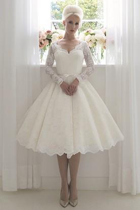 Tea Length Wedding Dresses With Sleeves   Tea Length Wedding Gowns ...