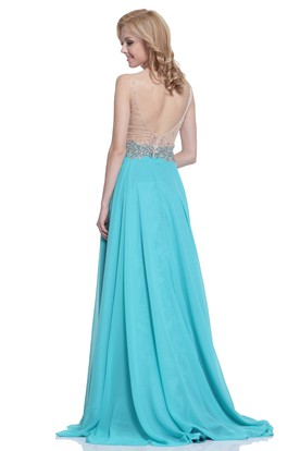 A-Line V-Neck Sleeveless Chiffon Deep-V Back Dress With Beading And Pleats