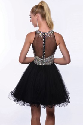 Sheath Bateau Neck Sleeveless Appliqued Satin Homecoming Dress With Open Back