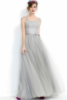 A-Line Cap Sleeve Bowed Tulle Bridesmaid Dress With Pleats