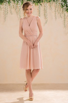 V-Neck Sleeveless A-Line Bridesmaid Dress With Illusion V-Back