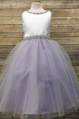Tea-Length V-Neck Beaded Tulle&Satin Flower Girl Dress