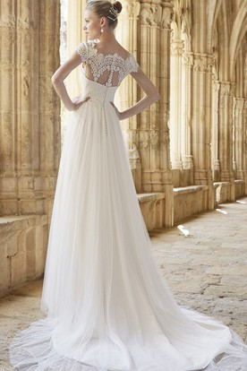 A-Line Cap Sleeve Empire Bateau Neck Lace Tulle Wedding Dress