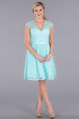 Mini Ribboned V-Neck Cap Sleeve Lace Bridesmaid Dress With Illusion Back