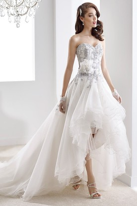 Sweetheart High Low Beaded Gown With Ruffles And Fl Decoration