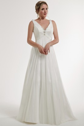A-Line Long Sleeveless Beaded V-Neck Wedding Dress With Low-V Back And Ruching