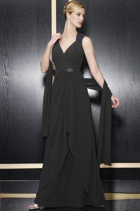A-Line Floor-Length Draped Sleeveless V-Neck Chiffon Formal Dress With Keyhole Back And Broach
